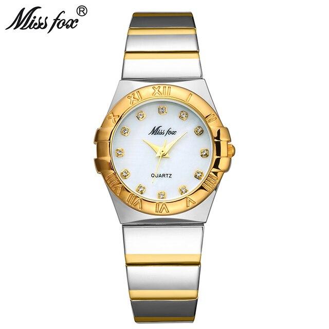 MISSFOX ساعات أنيقة النساء الماس الأرقام الرومانية اللؤلؤ قذيفة الكلاسيكية السيدات ساعة ذهبية مقاوم للماء الإناث كوارتز ساعة اليد