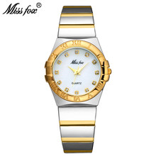 Miss Fox Fashion Watches Women Diamond Roman Numerals Mother Pearl OmegaINGLY Ladies Gold Watch Waterproof Uhr Quartz Wristwatch(China)