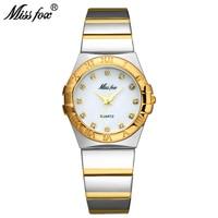 Miss Fox Fashion Watches Women Diamond Roman Numerals Mother Pearl OmegaINGLY Ladies Gold Watch Waterproof Uhr Quartz Wristwatch