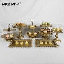 7 Pcs Cupcake Gold White Pink  Dessert Plate 3 Tier Metal Set Wedding Cake Stand
