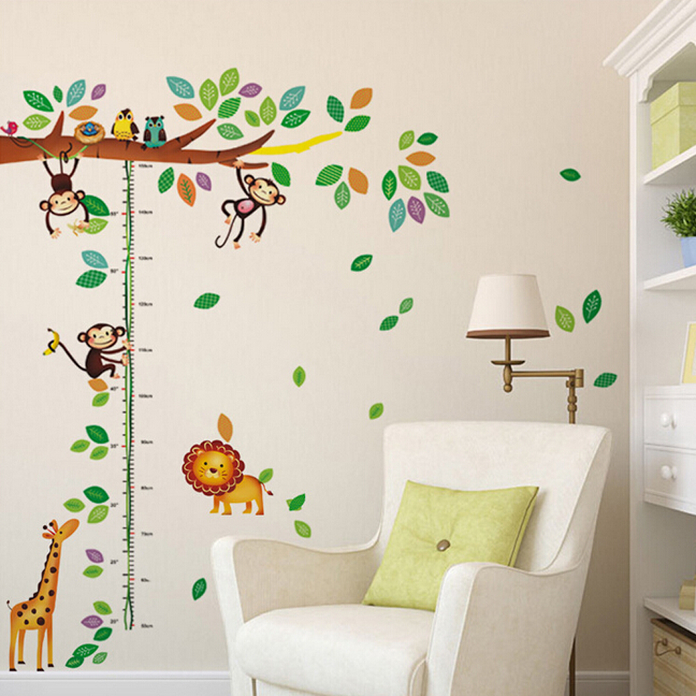 Free shipping Creative removable kids bedroom decor monkey forest wall sticker