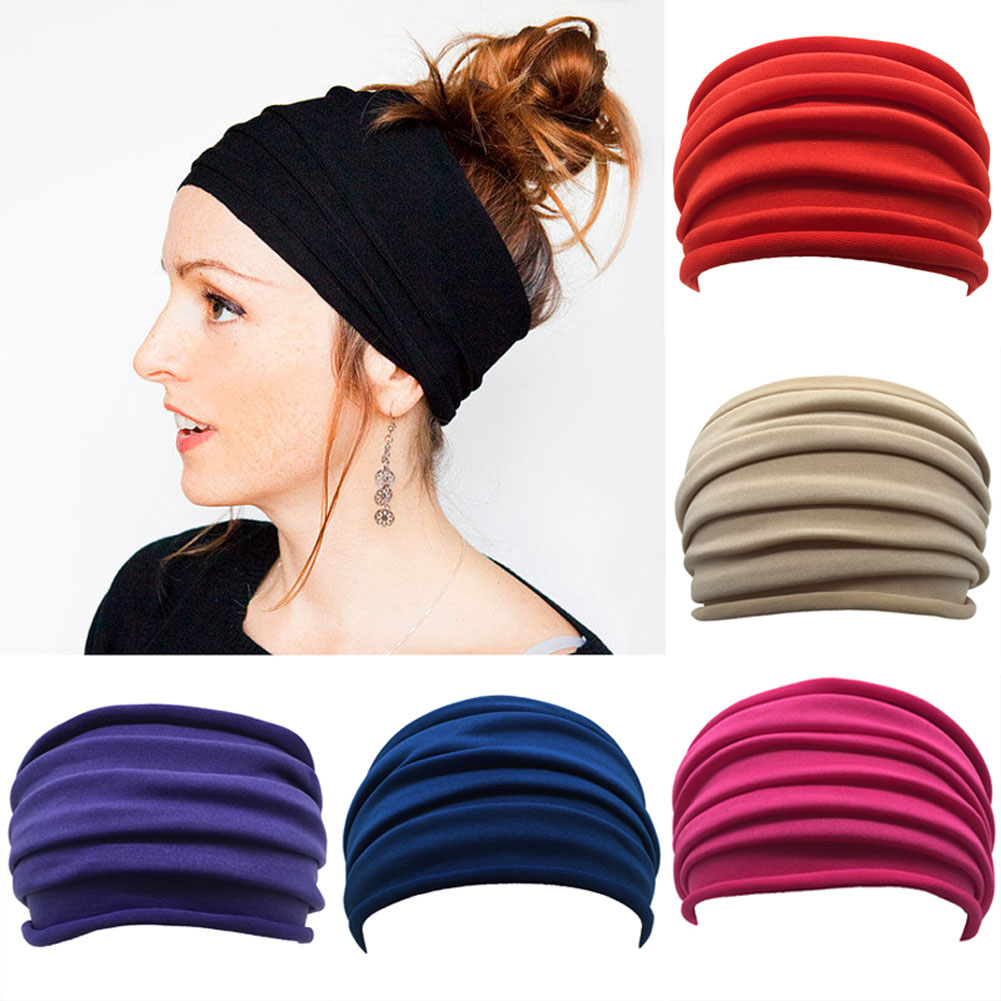 Women Wide Sports Yoga Nonslip Headband New Stretch Boho Hairband Elastic Turban Running Headwrap Hair Band Accessories metting joura vintage bohemian ethnic tribal flower print stone handmade elastic headband hair band design hair accessories