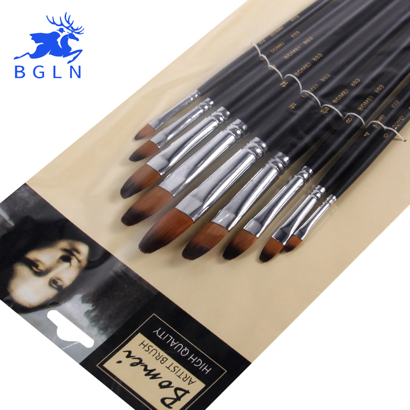 BGLN 9pcs Round Different Size Long Handle Oil, Acrylic ,Watercolor Paint Brushes Nylon Hair Painting Brush Pen Art Supplies 803 14pcs different shape acrylic oil painting brush suit wooden handle brushes drawing tool paint pen with bag art supplies
