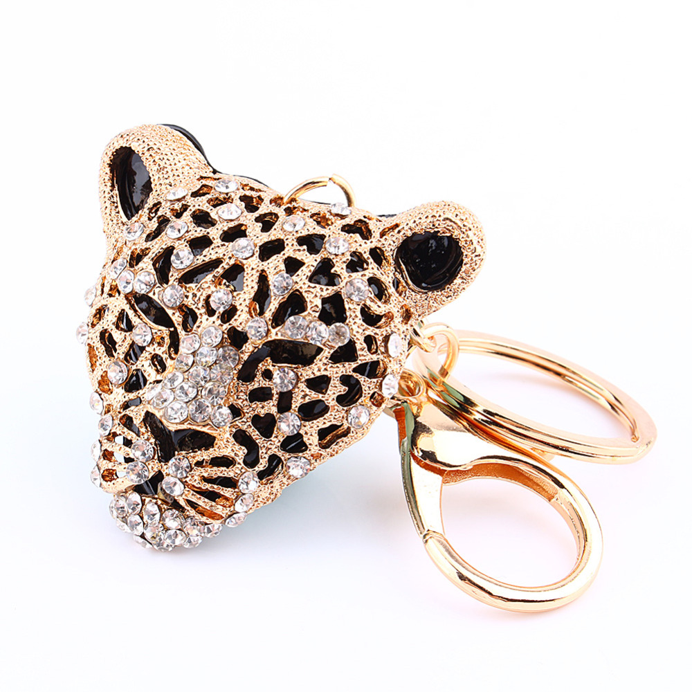 Animal Panther Leopard Rhinestone Keyring Charm Pendant Purse Bag Key Ring Chain Keychain Gift bag women keychain crystal chains