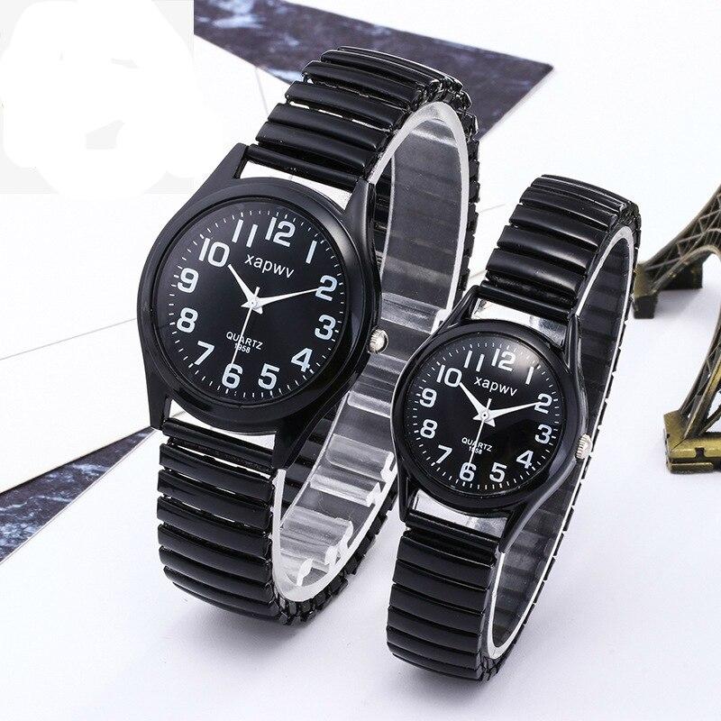 Steel Belt Couple Watch Black And White Big Watch Watches Men Women Simple Female Male Quartz Watch Couple Watch