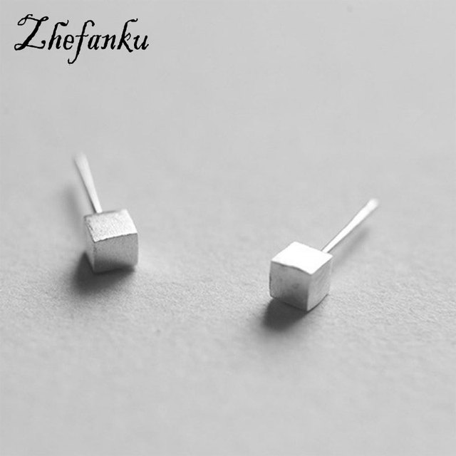 Charming Jewelry 1 Pair Tiny Square Simple Ear Stud Color Silver Color  Drop Shipping