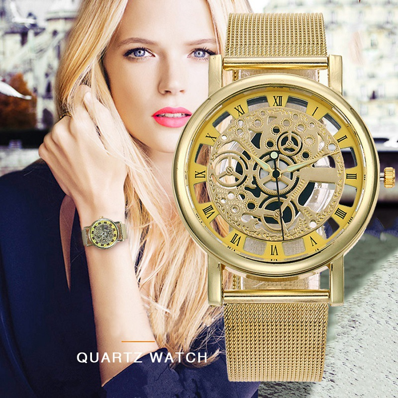 Neutral Alloy Stainless Steel With Perspective Hollow Quartz Watches Direct Wholesale Men's Imitation Mechanical Gold Watches
