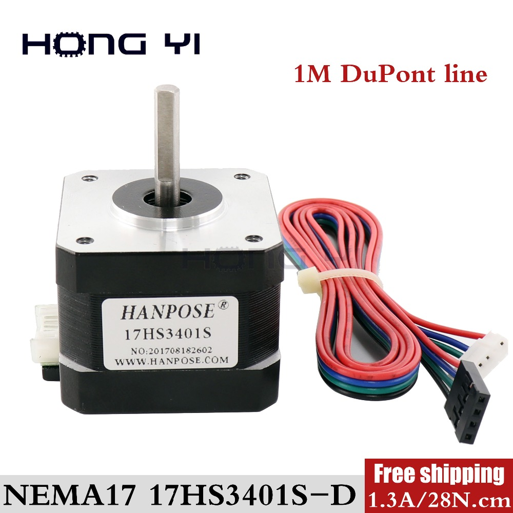 Free Shipping Nema 17 34mm Stepper Motor 17HS3401S 4-lead 42 Motor 42BYGH 1.3A With DuPont Wires CNC Laser For 3D Printer