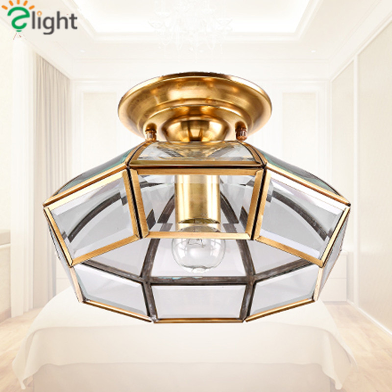 Europe Vintage Lustre Copper Led Ceiling Lights Fixture Simple Glass Corridor Led Ceiling Light Luminarias Ceiling Lamp Lamparas europe type restoring ancient ways is the copper single head ceiling lamp restaurant corridor corridor led to ceiling lamp
