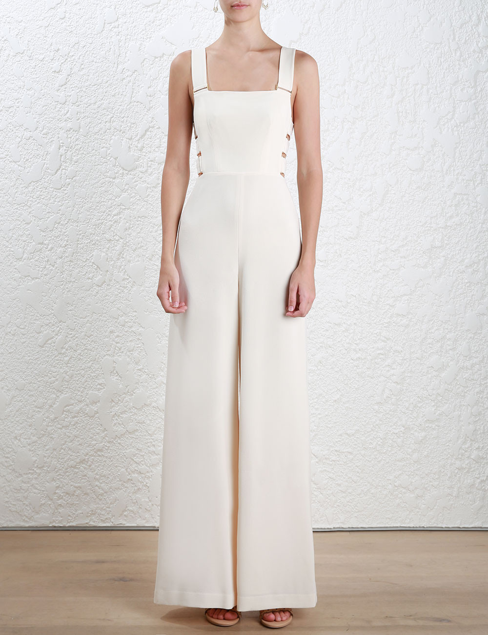 AEL Fashion Hollow Out Shoulder straps Jumpsuits Wide Leg Pants 2017 Summer Elegant Slim Backless Women
