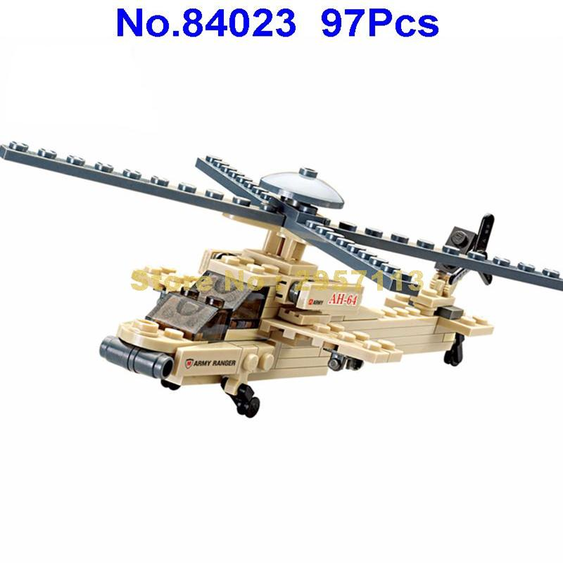 84023 97pcs Military Apache Helicopter Building Block Brick Toy