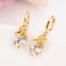 gold cute crystal drop earring Ethiopian/Nigeria/Kenya /Ghana Gold color Dubai african Arab Middle Eastern Jewelry Mom Gifts(China)