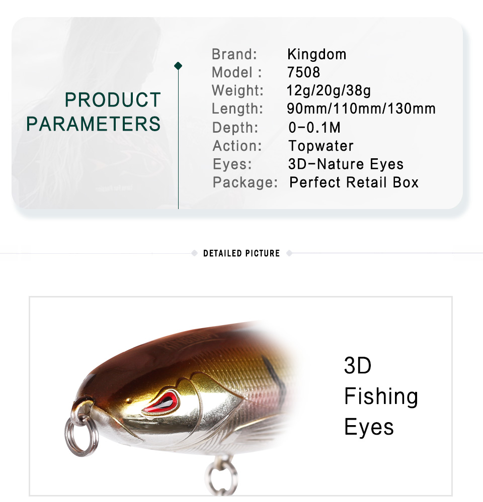 Kingdom Whopper Popper Fishing lures 9cm11cm13cm Topwater Floating Artificial Bait Soft Rotating Tail VMC Hooks fishing tackle (2)