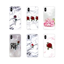 Accessories Phone Cases Covers For Xiaomi Redmi Note 6A MI8 Pro S2 A2 Lite Se MIx 1 Max 2 3 For Oneplus 3 6T Red Rose Marble(China)