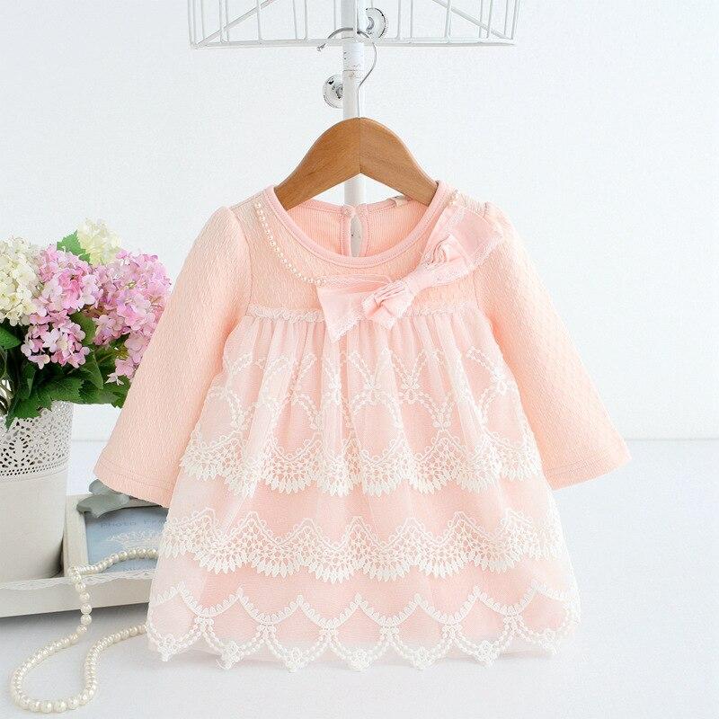 2019 Spring Autumn Cotton Pearls Kids Clothes Newborn Girls Infant Dress Baby Clothing Baby Girls Dress Vestido Infantil 2 Color