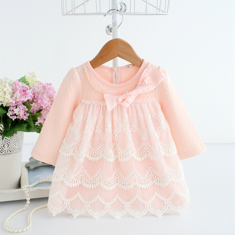 2018 spring autumn cotton pearls Kids clothes newborn Girls infant dress baby clothing baby girls dress vestido infantil 2 color new spring autumn cotton long sleeved dress baby girls dresses for party floral costume for kids clothes vestido infantil t
