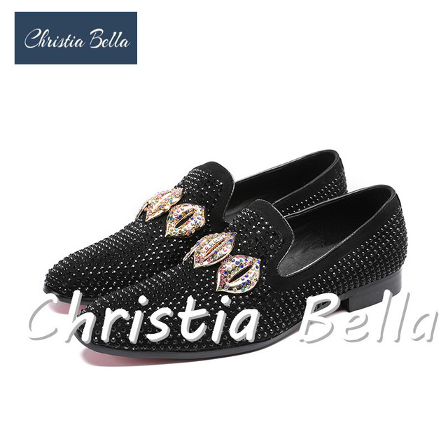 3196496e751 Christia Bella Black Rhinestone Tassel Men Loafers Crystals Slippers  Smoking Slip-on Shoes Party and Wedding Dress Men s Flats