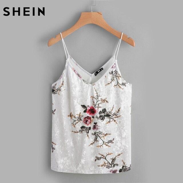 aliexpress com buy shein dual v neck floral velvet cami top