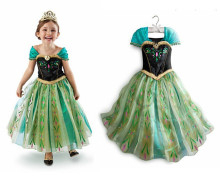 цена на Summer new kids girls dress and long sleeved Embroidered Flower Butterfly modal big Princess Dress