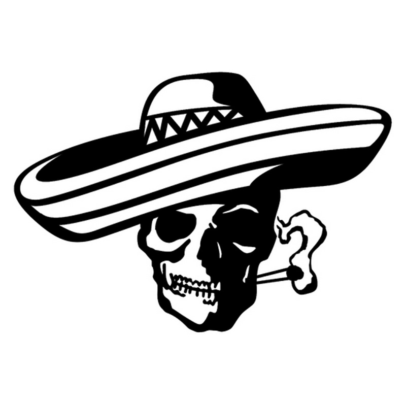 18.6cm*12.7cm Southwest Jolly Pirate Smoking Bandit Skull Car Sticker Car-Styling Black/Silver S3-4630