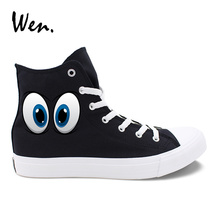 купить Wen Men Canvas Sneakers Black Original Design Cartoon Eyes Pattern Women Casual Shoes White High Top Lace Up Espadrilles Colors по цене 1627.63 рублей