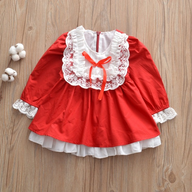 a8b001e26739d Baby Girls Red Color Spain Palace Style Dresses Christmas New Fashion  Holiday Western Children Clothes