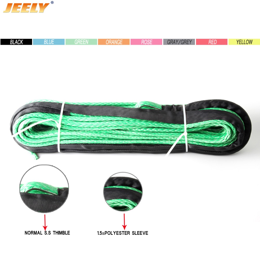 JEELY 4mm*15m Synthetic Winch Line Rope With Sheath And Thimble For 4x4 4wd Atv Utv Off-road