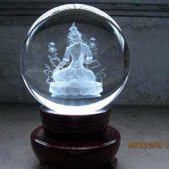 Wholesale Buddha # efficacious HOME House Talisman- The town house Buddhist 3D Green Tara Buddha Crystal ball statue