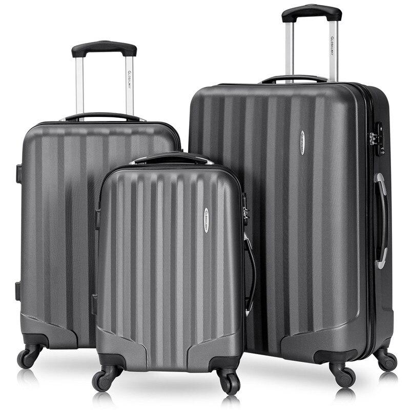 3 pièces ensemble 100% ABS valise continuer Spinner roues voyage bagages serrure 20 24 28 pouces pour les femmes hommes école collège affaires