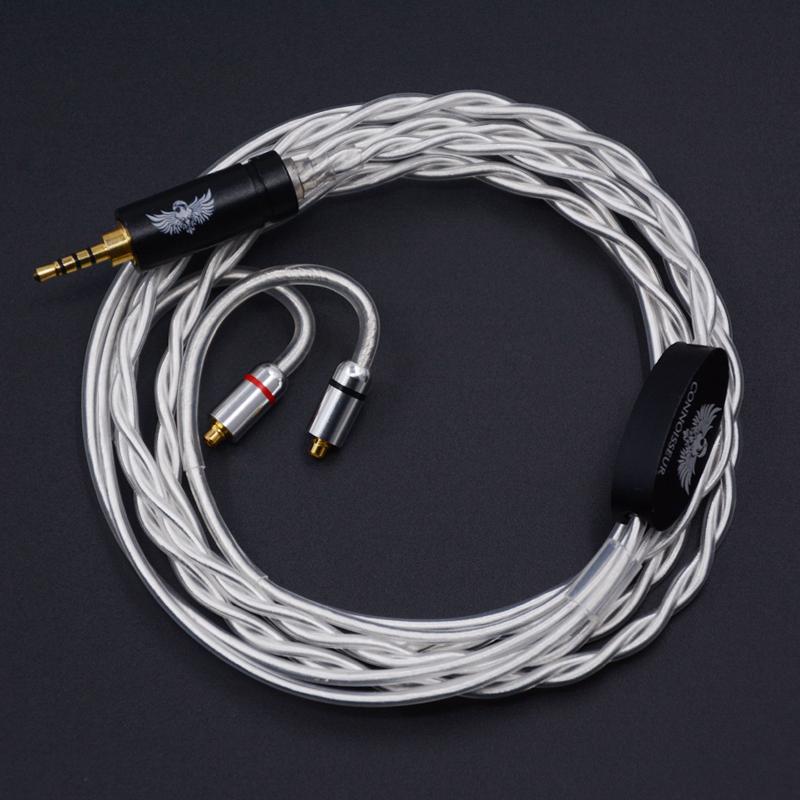 Prix pour NICEHCK 2.5mm Équilibrée 4-Pole Jack Plug Câble Pur Argent Écouteurs Mets Câble MMCX Câble Utiliser Pour Astell & Kerns ONKYO OPUS