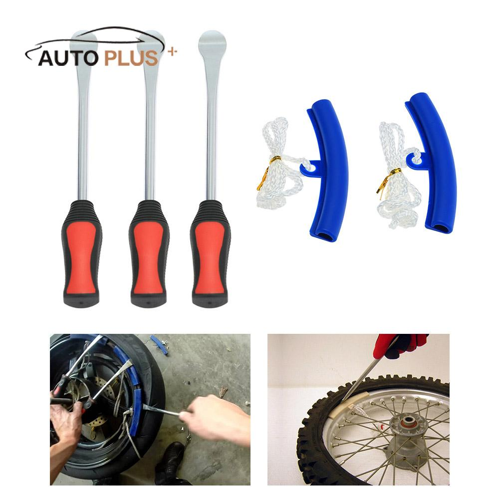 3 Tire Lever Tool Spoon + 2 Wheel Rim Protectors Tool Kit for Motorcycle Bike Tire Changing Removing