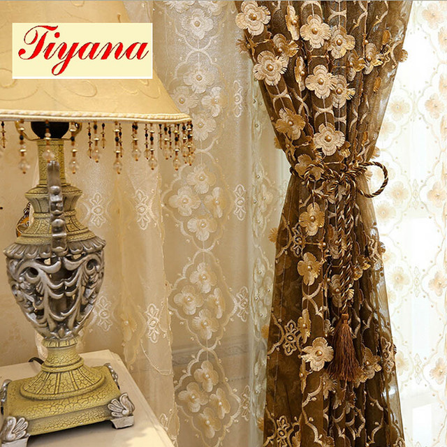 Pearl Embossed Embroidered Curtains voile Tulle Valance Fancy ...