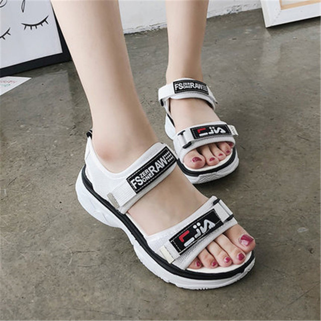cb6e765fb Shoes Women Summer New Sweet Flowers Buckle Open Toe Wedge Sandals Floral  High Heeled Shoes Platform