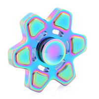 High Quality New Rainbow Colorful Fingertip Gyro Boys Girls Hexagonal Spinner Hand For ADHD Anti Stress Toys