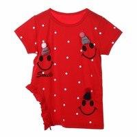 Summer Casual Kids Children Girls Cute Knitted Beanie Short Sleeve Lovely T Shirt Tops Clothes