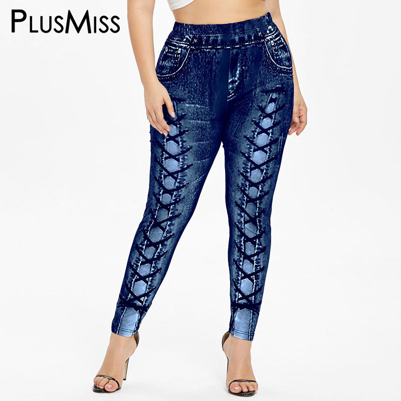 PlusMiss Plus Size 5XL 3D Jeans Denim Printed   Legging   Women Big Size Fitness Jeggings Lace Up Leggins Skinny Legins XXXXL XXXL