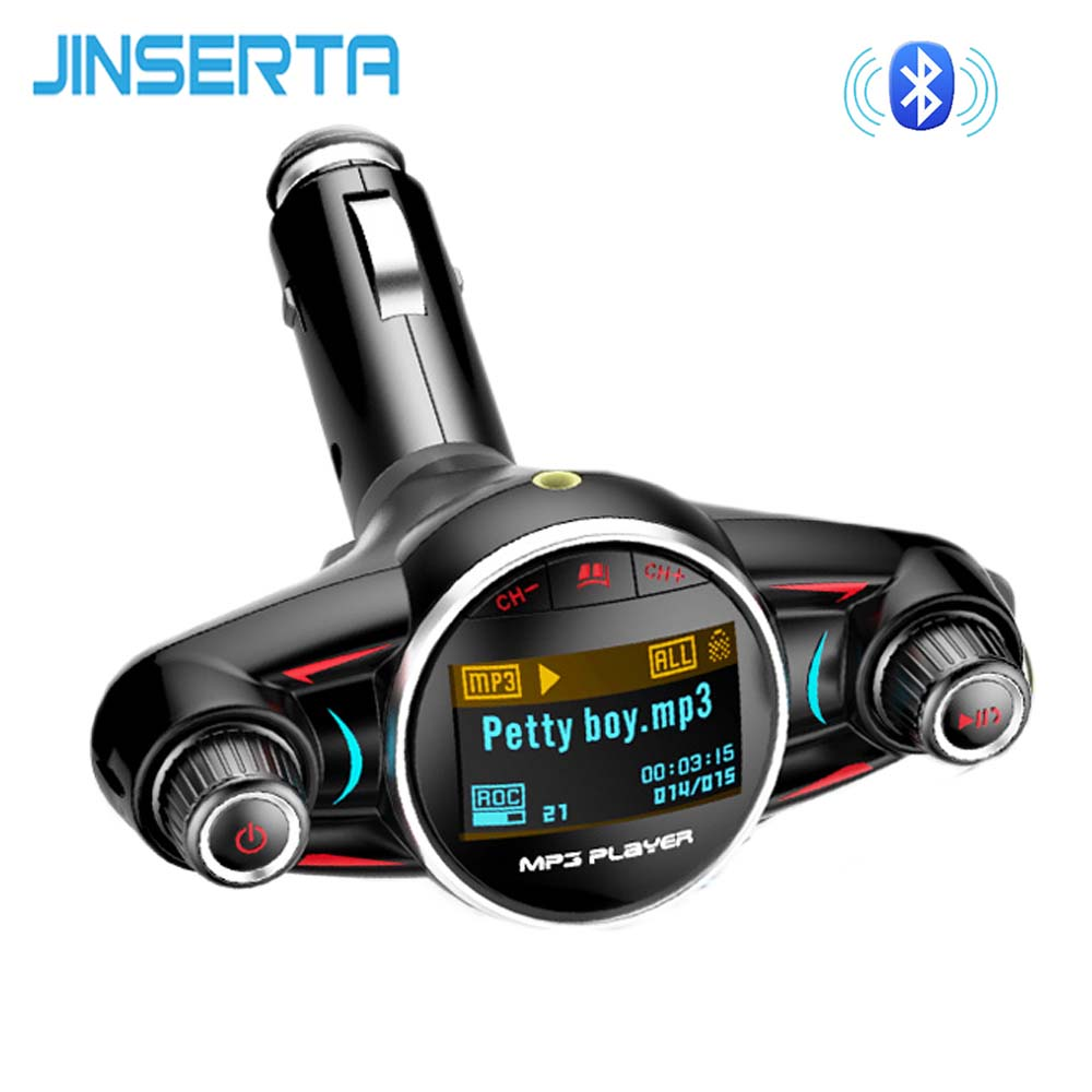 JINSERTA Mini MP3 Player BT4.0 With FM Transmitter LED Screen Handsfree TF Card USB Play Car MP3 Player Charging For Phone