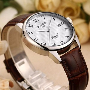 Image 5 - Original GUANQIN Watches Men Mechanical Watch 2019 Leather Clock Luxury Mens Watch Business Waterproof Watches for Men Clock