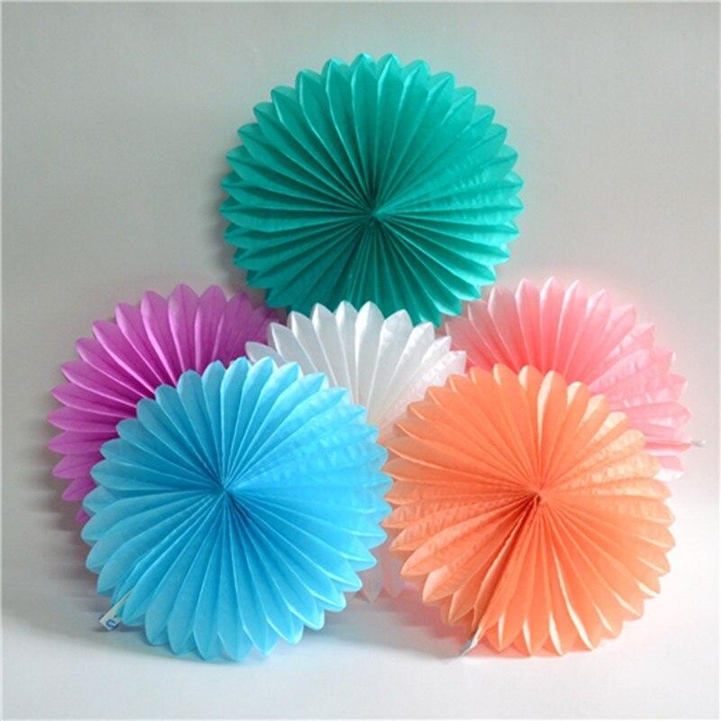 Decorative Crafts 20CM 1PCS Flower Origami Paper Fan