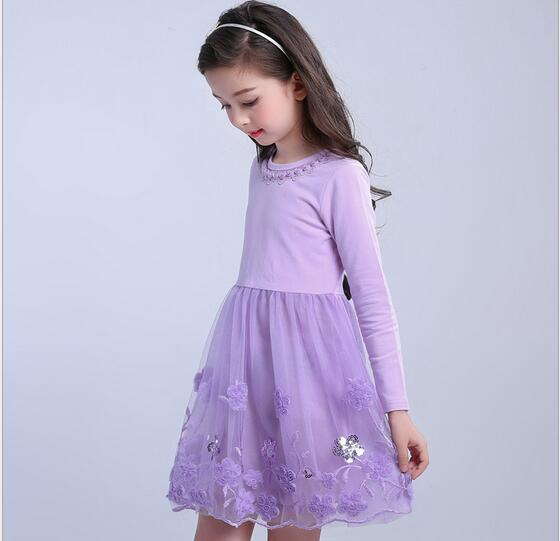 4-13Y Girl Cotton Tulle Dress 2017 Autumn Children Party Dresses Fashion Girl Fall Dress Embroidery Childrens Clothes 4