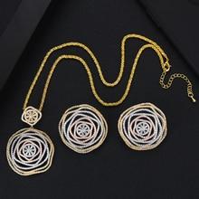 GODKI luksusowy kwiat okrągły afrykański bransoletka zestaw pierścieni indyjskie zestawy biżuterii dla kobiet ślub zaręczyny brincos para jak mulheres