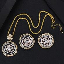 GODKI ดอกไม้หรูหรารอบแอฟริกันแหวนกำไลชุดเครื่องประดับอินเดียชุดหมั้นแต่งงาน brincos para as mulheres