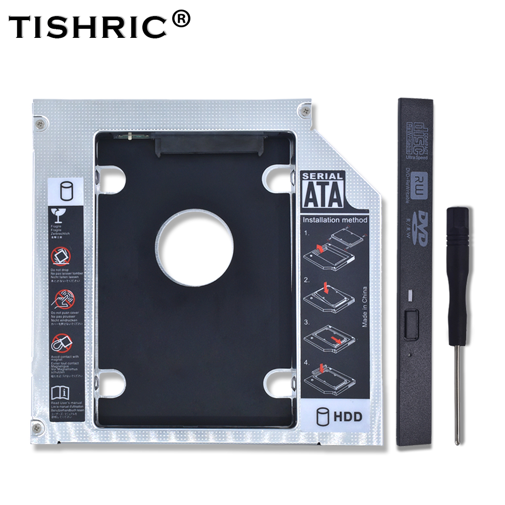 TISHRIC 2018 Hot Universal Aluminum 2nd HDD Caddy 12.7mm SATA 3.0 CD Adapter For 2.5''7-12.5mm SSD DVD Case Enclosure Optibay