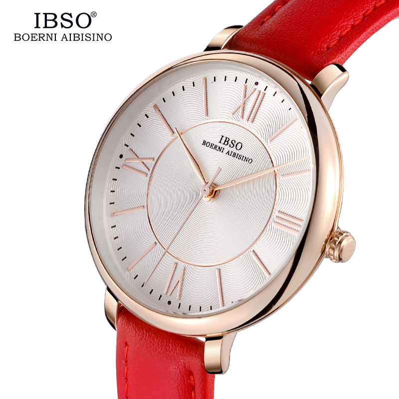 IBSO Brand Fashion Women Watches 2018 Red Luxury Genuine Leather Strap Quartz Watch Women Ladies Wristwatches Montre Femme 400mm hole center 90mm stroke auto gas spring 20kg force gas strut damper ball joint m8 gas strut shock spring lift