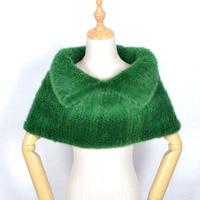 women mink fur pashmina shawl winter real fur shawl scarf hand knitted mink scarves wraps neck ring