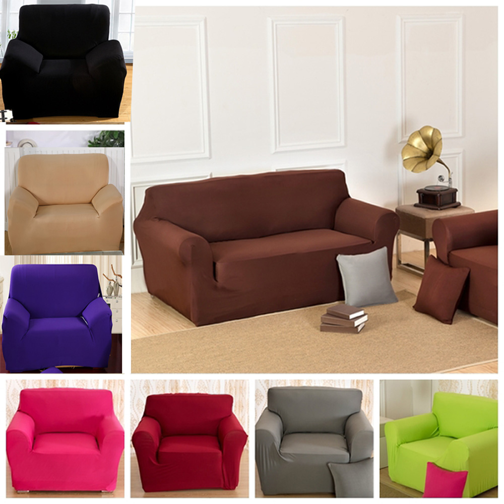 Solid Pure Colour Universal Fabric Elastic Stretch Sofa Cover Loveseat Funiture 1 Seater 2 3 4 In From Home