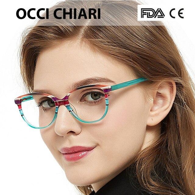 OCCI CHIARI Spring Hinges Prescription Lens Medical Optical Eyeglass Woman Frame Stripes Colorful Navy Red Italy Design W CORRU