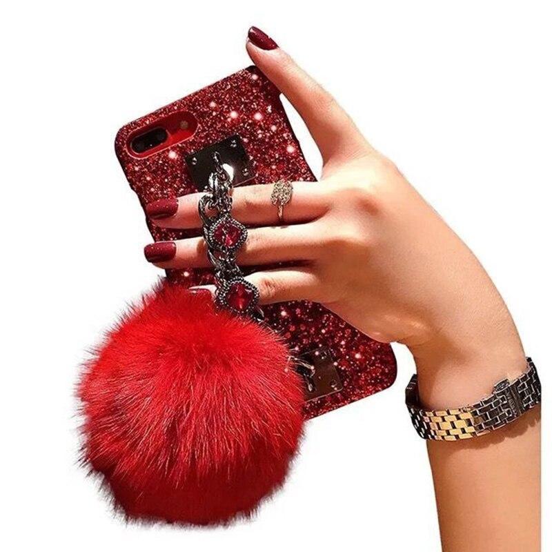 For Samsung Galaxy J4 J6 plus A7 A8 A6 2018 J2 J7 prime Case Glitter Luxury Bling Diamond Bracelet Tassel Fox Fur Ball Cover in Rhinestone Cases from Cellphones Telecommunications