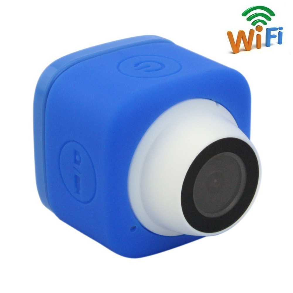 Blue Color 720P HD TF Card record Wide Angle 120degree Mini Cude WIFI Camera with USB Cable ,Support IOS Android smart phone