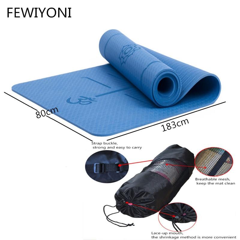 FEWIYONI 183 cm * 80 cm * 8mm d'épaisseur tapis de yoga TPE antidérapant tapis d'exercice de qualité Pilates gym accueil coussin insipide pour envoyer un sac en maille